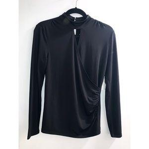 NWT gathered drape keyhole blouse